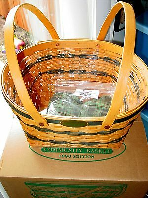 New 1996 In Box Longaberger Traditions Community Basket-Protector & Liner