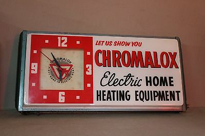 RARE 1950's CHROMALOX HEATING DEALERSHIP LIGHTED CLOCK SIGN