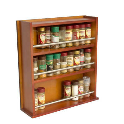 Spice Rack - Wooden - Closed Top - 3 Tiers - Stainless Steel Bar - 54 Jars