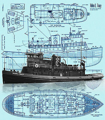 Build a 1:64 scale Radio Control Tug Boat Helen L.Tracy Full Size Printed plan