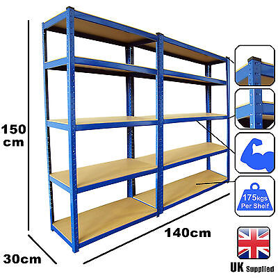2 Bays Blue 5 Tier Heavy Duty Boltless Metal Steel Shelving Storage Racking Unit