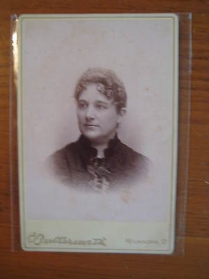 Antique Cabinet Card Photograph  Dignified Lady  Wilmington, Ohio (Sabina,Ohio)