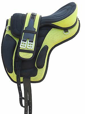 """All Purpose Treeless Freemax synthetic Saddle Green/Black 16"""" 17"""" 18"""" Size"""