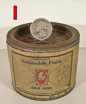 Antique 1/2 pint Car Paint Can, PENINSULAR AUTOMOBILE FINISH Green unopened  *I*