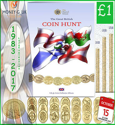 £1 ONE POUND COINS RARE 1983-2016 BRITISH COIN HUNT.( good condition)