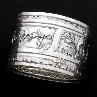 Antique French Sterling Silver Repousse Napkin Ring, Henri Soufflot