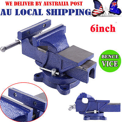 "6"" Inch Steel Heavy Duty Bench Vice Tool Grip Clamp + Free Swivel Base 12KG Blue"