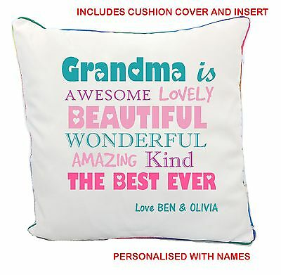 Grandma Mothers Day White Cushion Cover & Insert Personalised Names Gift Present