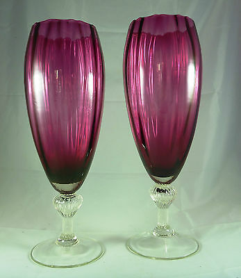 Vintage Pair Cranberry/ruby Glass Storm Candles Vases Clear Footed Base C 1950's