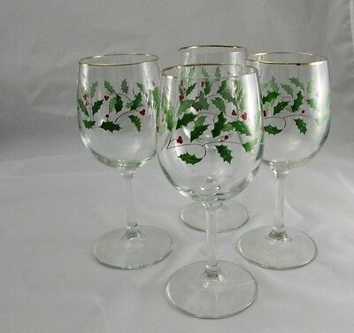 """Set of 4 Lenox Holiday Holly Berry Gold Rimmed Wine Glasses 7.75"""""""