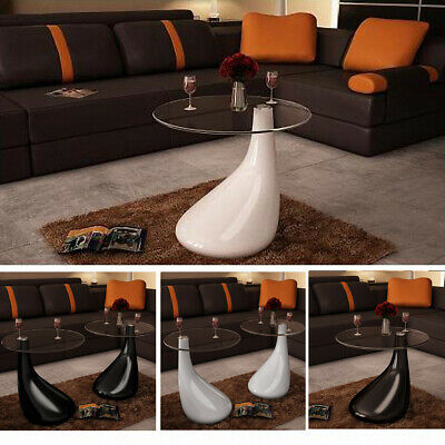 New Drop Coffee Table White / Black Selectable High-gloss Safety Glass 55 cm
