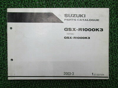 SUZUKI Genuine Used Motorcycle Parts List GSX-R1000 GT75A GSX-R1000K3