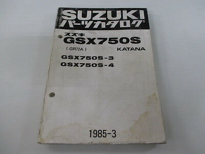 SUZUKI Genuine Used Motorcycle Parts List GSX750SKatana 3 4 GR72A