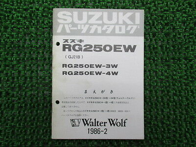 SUZUKI Genuine Used Motorcycle Parts List RGV250 Gamma RG250EW-3W 4W GJ21B