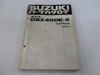 SUZUKI Genuine Used Motorcycle Parts List GSX400E Katana GK51C