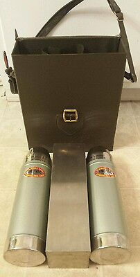 Pair Vintage UNO-VAC Stainless Steel Thermos w/Leather Case