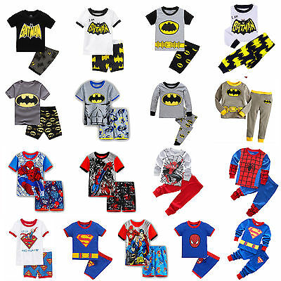 Toddler Boy Batman Superman Spider-man Pajamas Set Sleepwear Cotton 2PCS Pyjamas