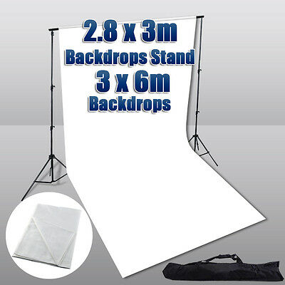 3x6m White Screen Backdrop Photo Studio 2.8x3m Background Support Stand w/ Bag