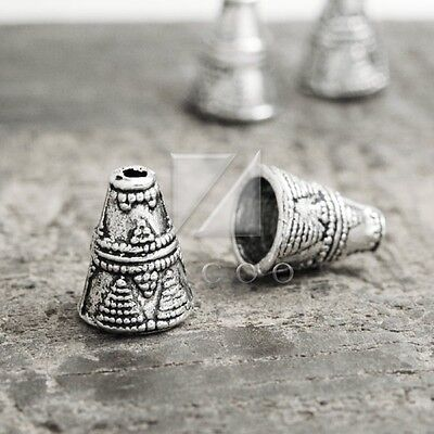 50pcs Tibetan Silver Metal End Beads Caps Jewelry Finding Cone 8.5x8.5x11.5mm