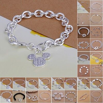 High quality Silver jewellery solid 925 Sterling Silver Bracelet/bangle+Gift Box