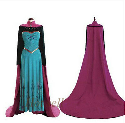 New Adult Women Princess Frozen anna Costume Cosplay Stage Christmas Party Dress