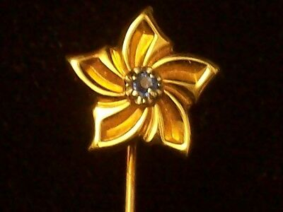 14kt GOLD Flower Stick Pin with Blue Sapphire