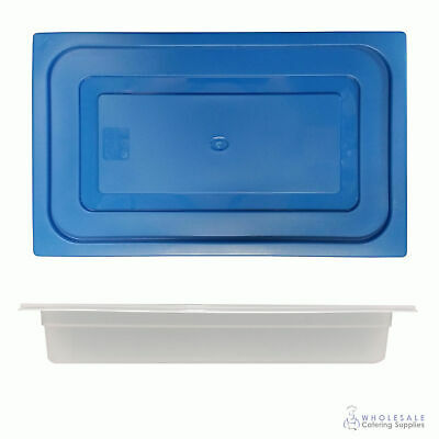 12x Food Pan with Blue Lid 1/1 GN 65mm Full Size Polypropylene Gastronorm