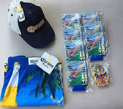 Lot 10 CORONA EXTRA Beer Hat Boxer Shorts Necklace & 7 Koozie New With Tags NWT!