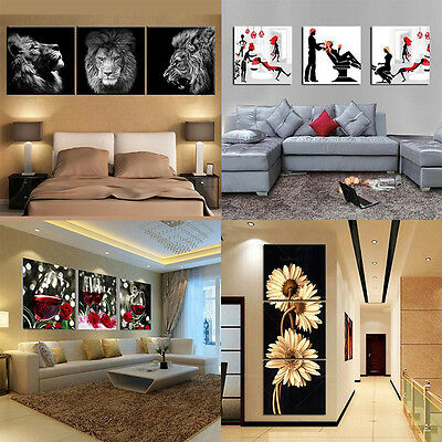 3Pcs/lot Modern Splicing Chrysanthemum Canvas Print Oil Painting For Home Decor