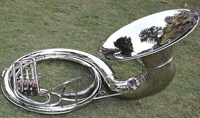"Christmas""offer_Sousaphone_24 "" Valve Big Sousaphone Fast""w/ Case Box Chrome"