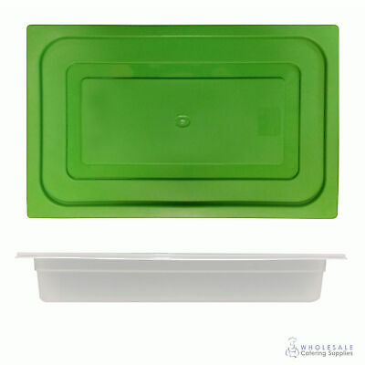 12x Food Pan with Green Lid 1/1 GN 65mm Full Size Polypropylene Gastronorm