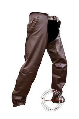 XL Size Stretchable Thigh Mens Leather Brown Motorcycle Chaps New Free Return