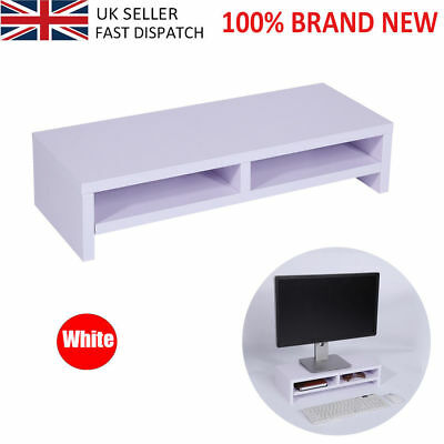 Heavy Duty Wooden Computer Desktop Monitor Stand Laptop TV Display Shelf 30KG UK