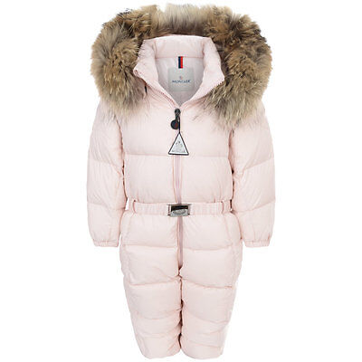MONCLER Baby Girls Pink Snowsuit Size 6 - 9 Months NEW with tags