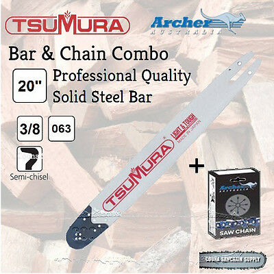 """20"""" 3/8 .063 72DL TSUMURA Bar & ARCHER Chain Combo fits Stihl - FREE POSTAGE"""