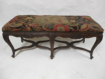 19th Cent Needlepoint Carved Provincial Bench Lot 91