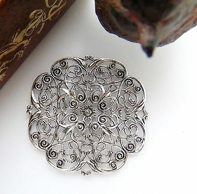 ANTIQUE SILVER Embellishment Dapt Filigree Stamping ~ Jewelry FInding (CB-3053)