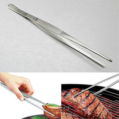 "12"" 30cm Silver Long Stainless Steel Food Tongs Straight Tweezers Kitchen Tool"