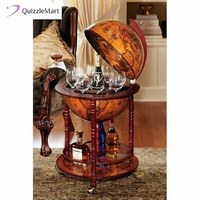 Globe Bar Cart Wine Liquor Cabinet Flip Top Large Hidden Storage Nautical Map
