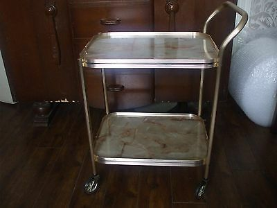 Vintage Retro 2 Tier Gold Edged Tea trolley Faux Onyx Tops Shelves