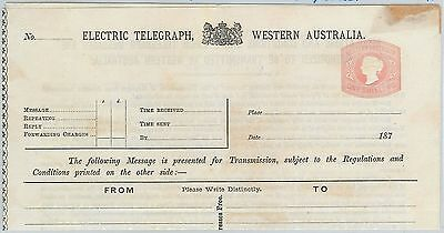 65041 - WESTERN AUSTRALIA - POSTAL HISTORY: STATIONERY  Electric Telegraph !