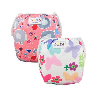 2  Alva Baby Girl Swim Diapers Nappies Washable Reusable Breathable Covers