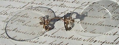 Pair Antique French Spectacles Rimless Pince Nez Glasses Brass ribbon nose rests