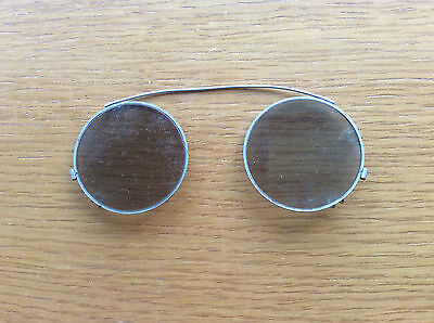 Vintage Round Clip-On Wire Sunglasses, 1950s, 1960s, Beatles/Lennon Style