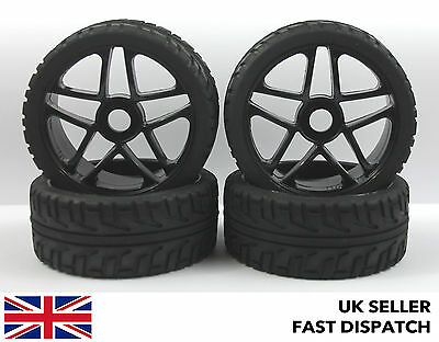4 x 5-Spoke Black Wheels & On Road Tyres for 1/8th Buggy/Car RC *PRE GLUED*