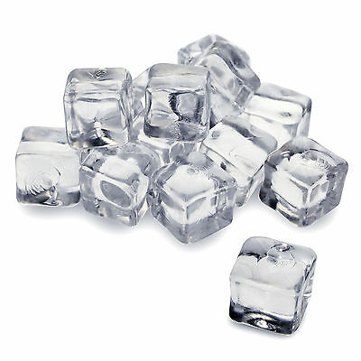 50/100/200 x Fake Clear Plastic Ice Cubes Display Photo Shoots Drinks Acrylic