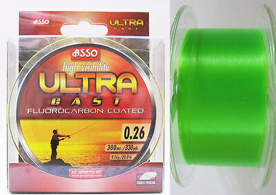 Asso Ultra Cast Coated Fluorocarbon Fishing Line Green 300 m Spools Sizes New