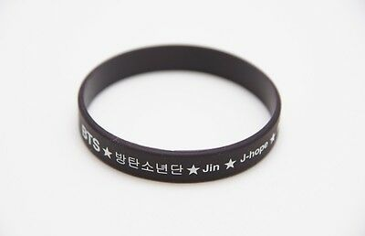 K-pop BTS Black Rubber Wristband