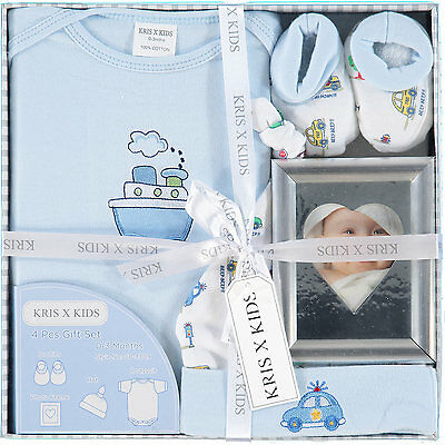 4 Piece Gift Set Blue Boat Design with Photo Frame by Kris X Kids 0-3 months