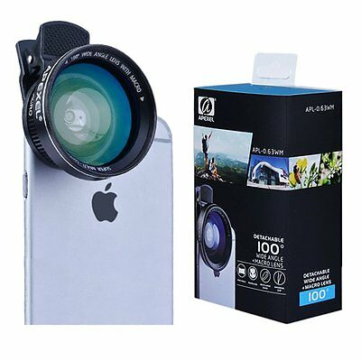Apexel 2-in-1 Cellphone HD Camera Lens Kit 0.63x Wide Angle Lens and 12.5x Macro